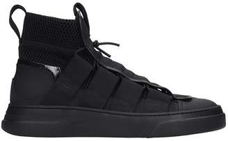 Bruno Bordese Byke Laced Sneakers In Black Suede And Leather