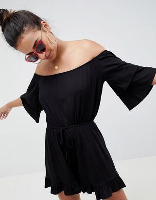 Asos Design DESIGN Off Shoulder Jersey Playsuit With Frill Hem-Black