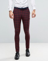 Asos Super Skinny Suit Pants In Navy And Red Check