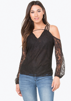 Bebe Lace Strappy Shoulder Top