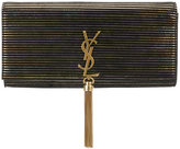 Saint Laurent striped Kate tassel clutch