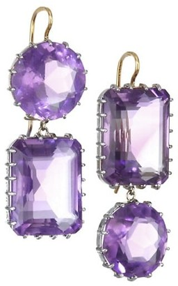 Renee Lewis 18K White Gold & Yellow Gold & Antique Amethyst Drop Earrings