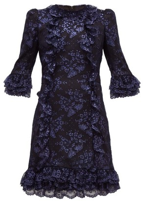 The Vampire's Wife Cate Metallic Fil-coupe Silk And Lace Mini Dress - Black Navy