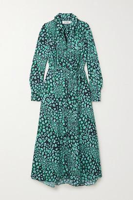 Cefinn Astrid Leopard-print Satin-jacquard Shirt Dress - Green