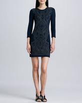 Nicole Miller Artelier Three-Quarter Sleeve Studded Dress