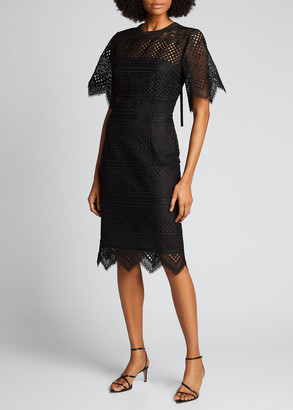 Carolina Herrera Lace Short-Sleeve Sheath Dress