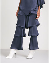 Osman Felix Tiered Wide High-rise Satin Trousers