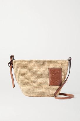 Loewe + Paula's Ibiza Pochette Leather-trimmed Woven Raffia Shoulder Bag - Tan