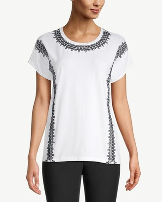 Chico's Embroidered Geometric-Trim Tee
