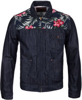 Edwin Indigo Denim & Hibiscus Print Cinch Back Jacket