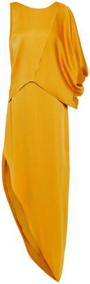 Halston Asymmetric Draped Satin Midi Dress