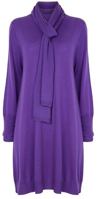 Nologo Chic Long Knit Tunic Dress With Matching Skinny Scarf -Merino/Cashmere -Violet