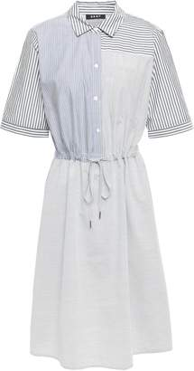 DKNY Patchwork-effect Striped Cotton-poplin Shirt Dress
