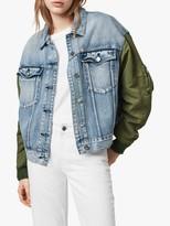 AllSaints Frankie Denim Bomber Jacket, Indigo Blue