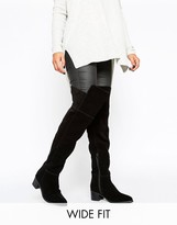 Asos KALEB Wide Fit Suede Pointed Over The Knee Boots