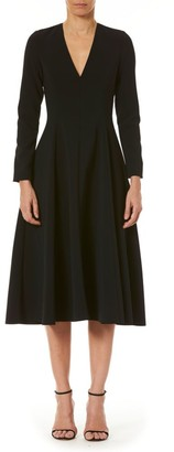 Carolina Herrera Long-Sleeve V-Neck A-Line Dress