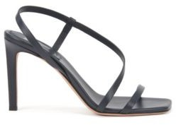 HUGO BOSS High Heeled Sandals In Nappa Leather With Asymmetric Strap - Dark Blue