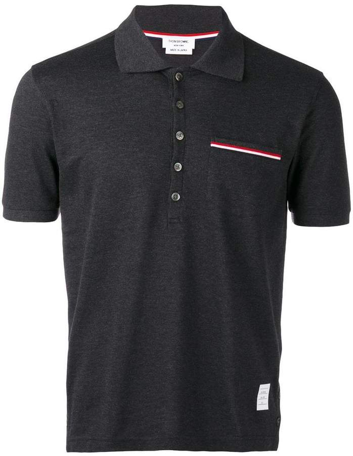 Thom Browne Short Sleeve Pocket Polo In Fine Mercerized Pique