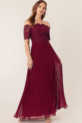 Oasis Burgundy Lace Bardot Maxi Dress