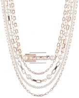 Carolee Multi Row Imitation Pearl Station Chain Toggle Necklace