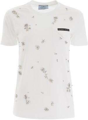 Prada Floral Embellished T-Shirt