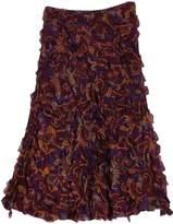 Ralph Lauren- Purple Printed Ruffle Midi Skirt Sz 2