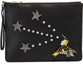 Cynthia Rowley Isla Crystal Star Faux-Leather Clutch, Black