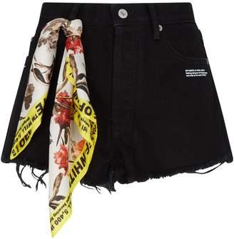 Off-White Off White Distressed Denim Shorts