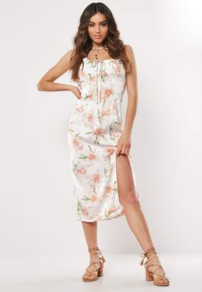 Missguided White Floral Bust Cup Midi Dress