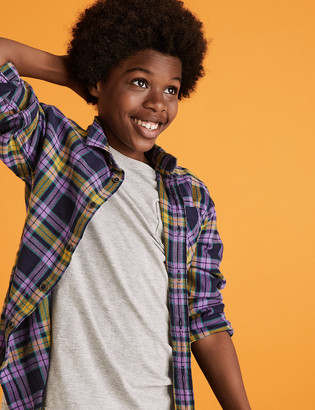 Marks and Spencer Cotton Checked Shirt (6-16 Yrs)