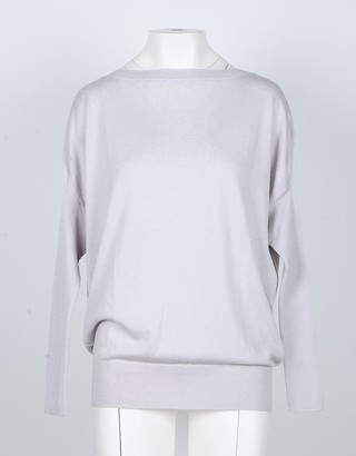 Snobby Sheep Ice Gray Silk and Cashmere Blend Women's Sweater