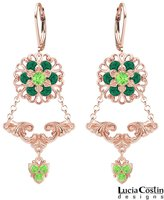 Lucia Costin Earrings Made of 24K Pink Gold Plated over .925 Sterling Silver Adorned with Fancy Pattern, Delicate Flowers, Swarovski Crystals and Cute Charms; Handmade in USA