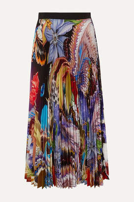 Mary Katrantzou Pleated Floral-print Crepe De Chine Midi Skirt - Blue