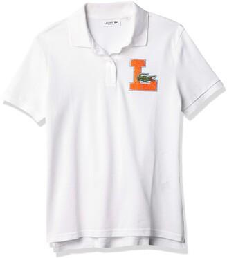 Lacoste Women's Short Sleeve Chenille Varisty Logo Pique Polo Shirt