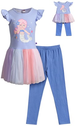 Dollie & Me Girls 4-10 Mermaid Multi Color Leggings Set with Matching Doll Outfit