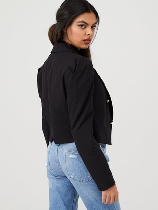 River Island Puff Sleeve Crop Blazer- Black