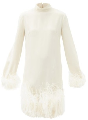 Taller Marmo Gina High-neck Feather-trimmed Crepe Dress - White