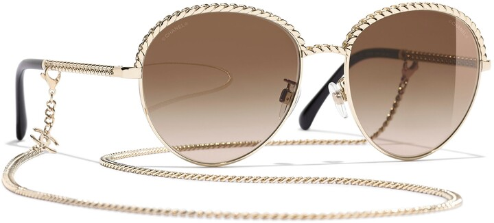Chanel Oval Sunglasses CH4242 Pale Gold/Brown Gradient