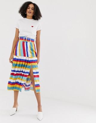 Asos Design DESIGN multi colored stripe pleated midi skirt with self belt