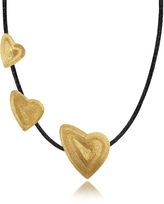 Stefano Patriarchi Etched Golden Silver Triple Heart Choker w/ Leather Lace