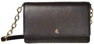 Lauren Ralph Lauren Saffiano Winston 19 Crossbody Medium (Black) Handbags