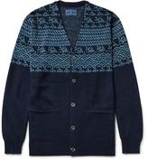 Blue Blue Japan Cotton And Linen-blend Jacquard Cardigan