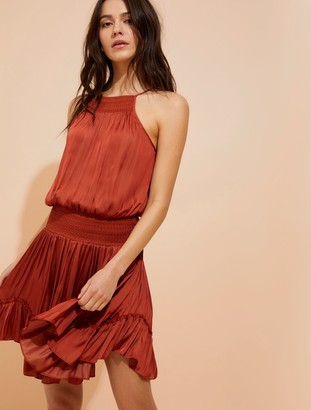Halston Smocked waist memory satin cami dress