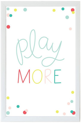 """Petal Lane """"Play More Kids"""" Magnet Board With White Frame, 10""""x7"""""""