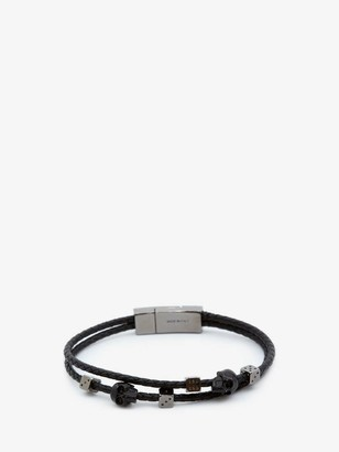 Alexander McQueen Skull Braided Leather Bracelet