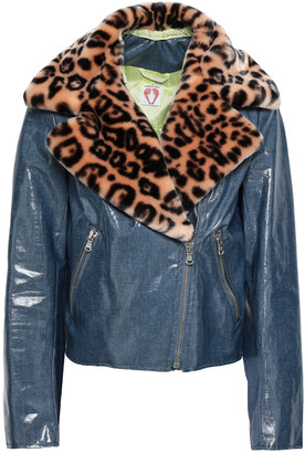 Shrimps Leopard-print Faux Fur-trimmed Coated Cotton-blend Jacket