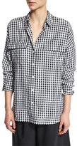 Tibi Long-Sleeve Oversized Gingham Utility Shirt, Navy/White