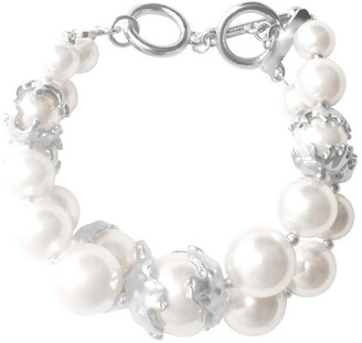 Karine Sultan Laura Sterling Silver Plated Double Layered Faux Pearl Bracelet