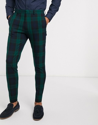 Asos DESIGN super skinny suit pants in blackwatch plaid