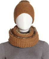 Hat Attack Faux Fur-Crochet Knit Infinity Scarf, Tobacco
